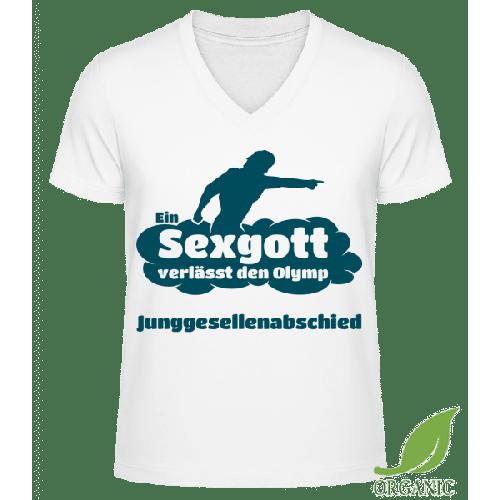 Junggesellenabschied Sexgott - Männer Bio V-Neck T-Shirt