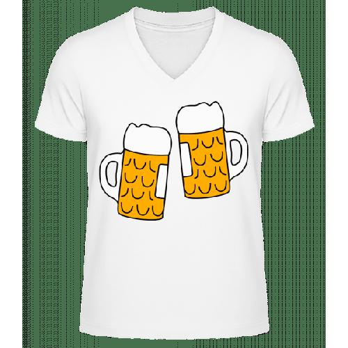 Zwei Bier - Männer Bio T-Shirt V-Ausschnitt