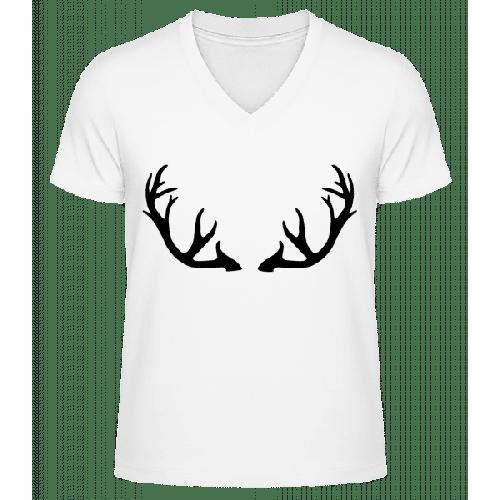 Hirschgeweih - Männer Bio T-Shirt V-Ausschnitt