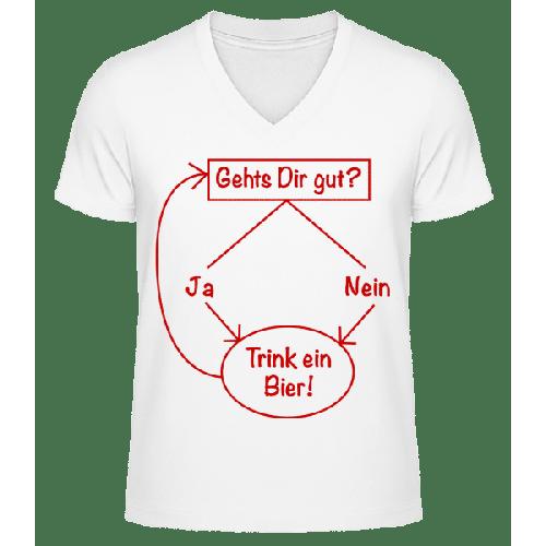 Trink Ein Bier! - Männer Bio T-Shirt V-Ausschnitt