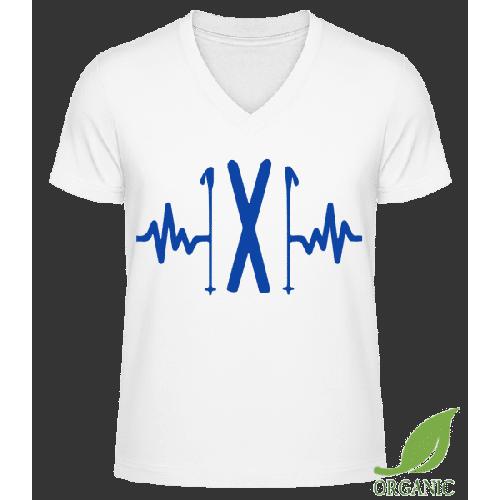 Ski Herzschlag - Männer Bio V-Neck T-Shirt