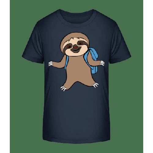 Süßes Faultier mit Rucksack - Kinder Premium Bio T-Shirt