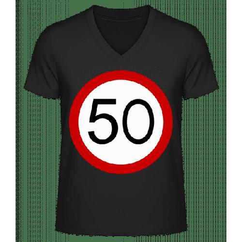 Verkehrsschild 50 - Männer Bio T-Shirt V-Ausschnitt
