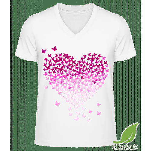 Schmetterling Herz - Männer Bio V-Neck T-Shirt