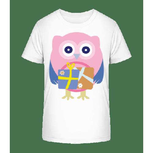 Eule Mit Geschenken - Kinder Premium Bio T-Shirt