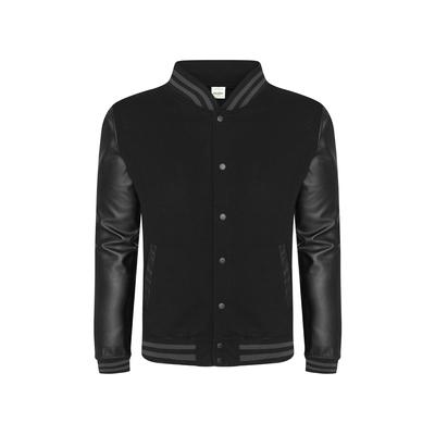 Just Hoods By AWDis JHA042 Men's 80/20 Heavyweight Urban Letterman Jacket with Leather Sleeves in Black size XL   Cotton/Polyester Blend