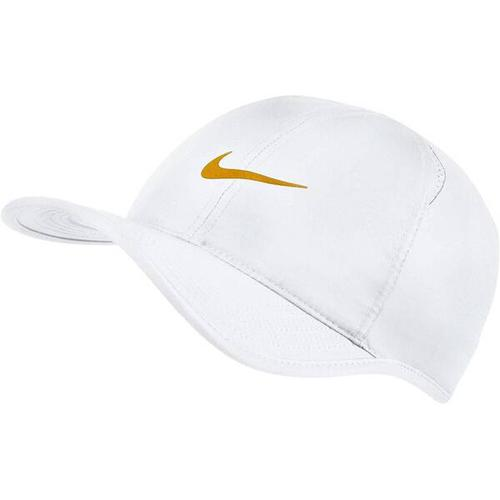 """NIKE Tenniskappe \""Featherlight\"""", Größe ONE SIZE in WHITE/WHITE/GOLD LEAF"""