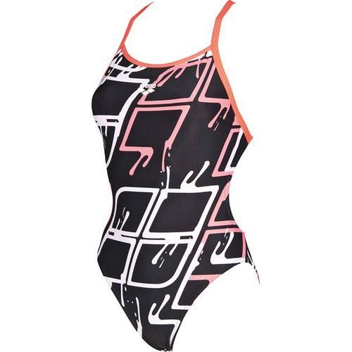 ARENA Damen Wettkampf Badeanzug Blare Lining, Größe 42 in BLACK-SHINY PINK