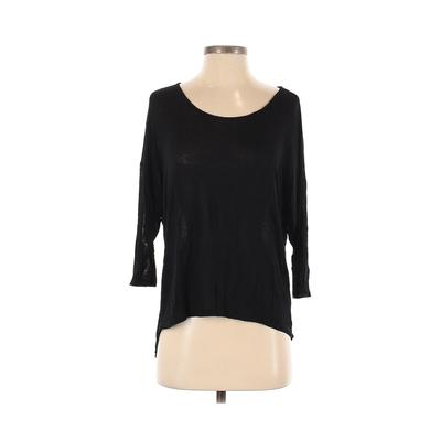 Love Culture 3/4 Sleeve T-Shirt: Black Solid Tops - Size Small