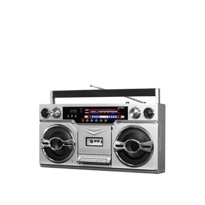 Victrola Silver 1980's Bluetooth Boombox with Cassette Player & AM/FM Radio