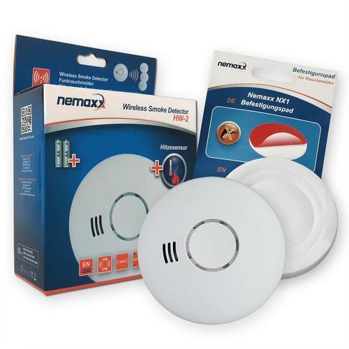 1x HW-2 Funkrauchmelder Rauchmelder Hitzemelder mit kombiniertem Rauch- und Thermosensor nach DIN
