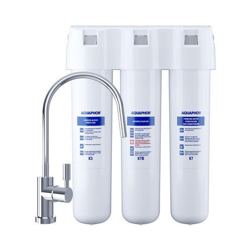 Aquaphor Aktivkohle-System - für Wasser - dreistufig - 2,5 l/min - inkl. Wasserhahn CRYSTAL B ECO