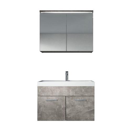 Badezimmer Badmöbel Set Paso 02 80cm Waschbecken Beton (Grau) - Unterschrank Schrank Waschbecken