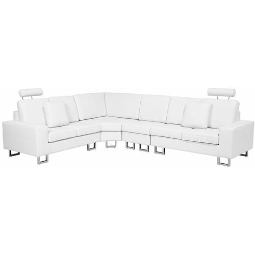 Beliani - Ecksofa Weiß Echtleder L-Förmig Rechtsseitig Modern Wohnzimmer