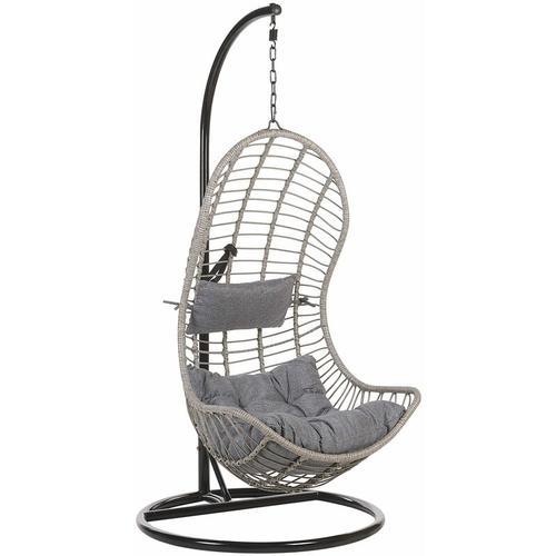 Beliani - Hängesessel Grau Rattan mit schwarzem Gestell aus Stahl inkl. Kissen Outdoor Indoor Boho