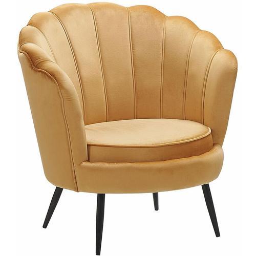 Beliani - Sessel Gelb Samtstoff Metallbeine Retro-Stil Wohnzimmer