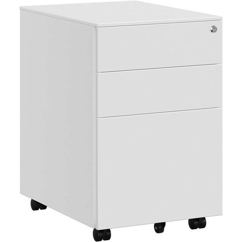 Stahl Rollcontainer mit 3 Schubladen und Hängeregistratur Abschließbarer Büroschrank, Schrankkorpus