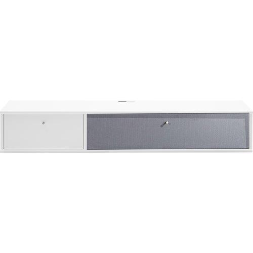 hammel Media-Board MISTRAL, Korpus mit glatter Oberfläche, Klapptür Akustikstoff, Danish Design weiß Hängeregale Wandregale Wandboards Regale