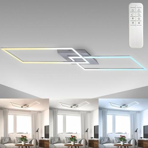 LED Deckenleuchte dimmbar CCT Deckenlampe Fernbedienung chrom-alu 20W Nachtlicht