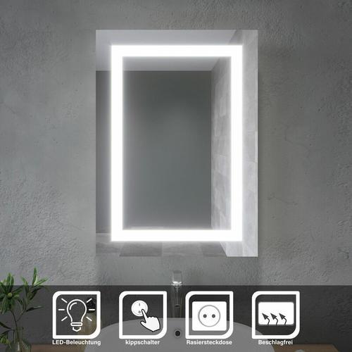 LED Spiegelschrank Badezimmerspiegel Badschrank Mit Steckdose Beschlagfrei Beleuchtung Hochglanz