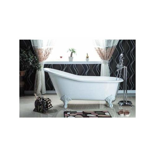 Freistehende Gusseisen Badewanne ASHFORD Füße WEISS 146 cm