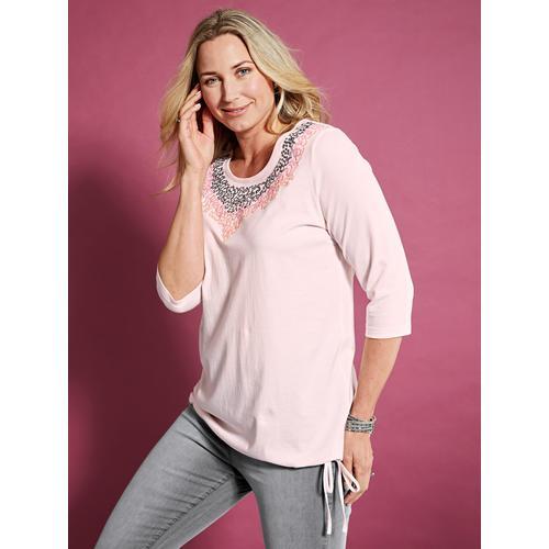 MIAMODA Paillettenshirt, mit Pailletten am Ausschnitt rosa Damen Jersey Shirts Sweatshirts Paillettenshirt