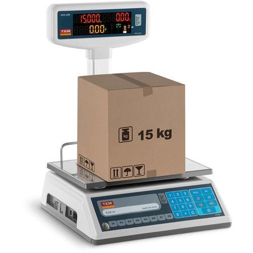 TEM - Preisrechenwaage Ladenwaage Marktwaage 6 kg/2 g 15 kg/5g LED-Hochanzeige geeicht