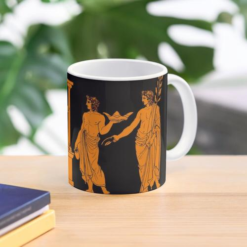 Red figure Greek vase offering scene Mug