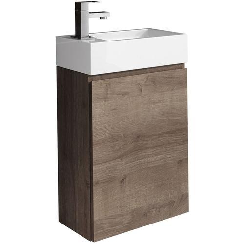 WC Badmöbel Angela 40x22 cm braun eiche - Schrank Waschbecken Badezimmer Toilette