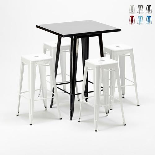 Hoher Tisch und 4 Metallhocker Industrielle Im Tolix-Stil New York-Bar | Farbe: Weiß