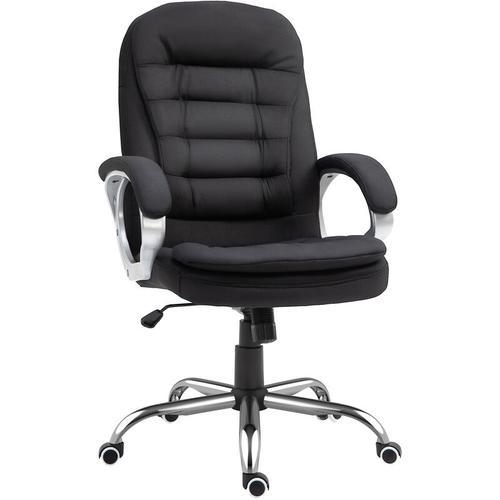 ® Chefsessel Bürostuhl Polsterung Leinen Schwarz - schwarz - Homcom