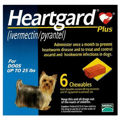 Heartgard Plus Chewables Small Dogs Up To 25lbs (Blue) 12 Doses