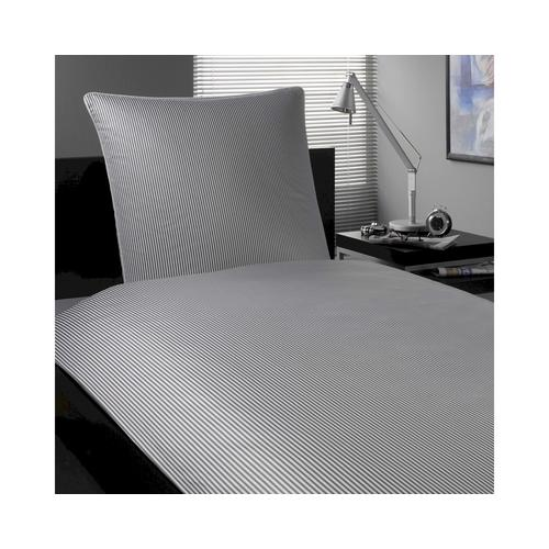 Elegante Mako-Satin »Hamburger Streifen« Grau-Weiß 2460-90 Kissen