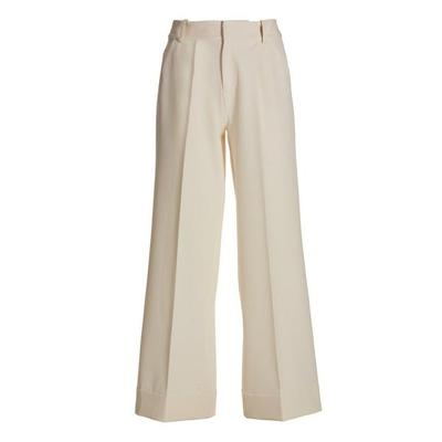 Boston Proper - High-Waist Wide-Leg Crepe Pant - Off White - 02