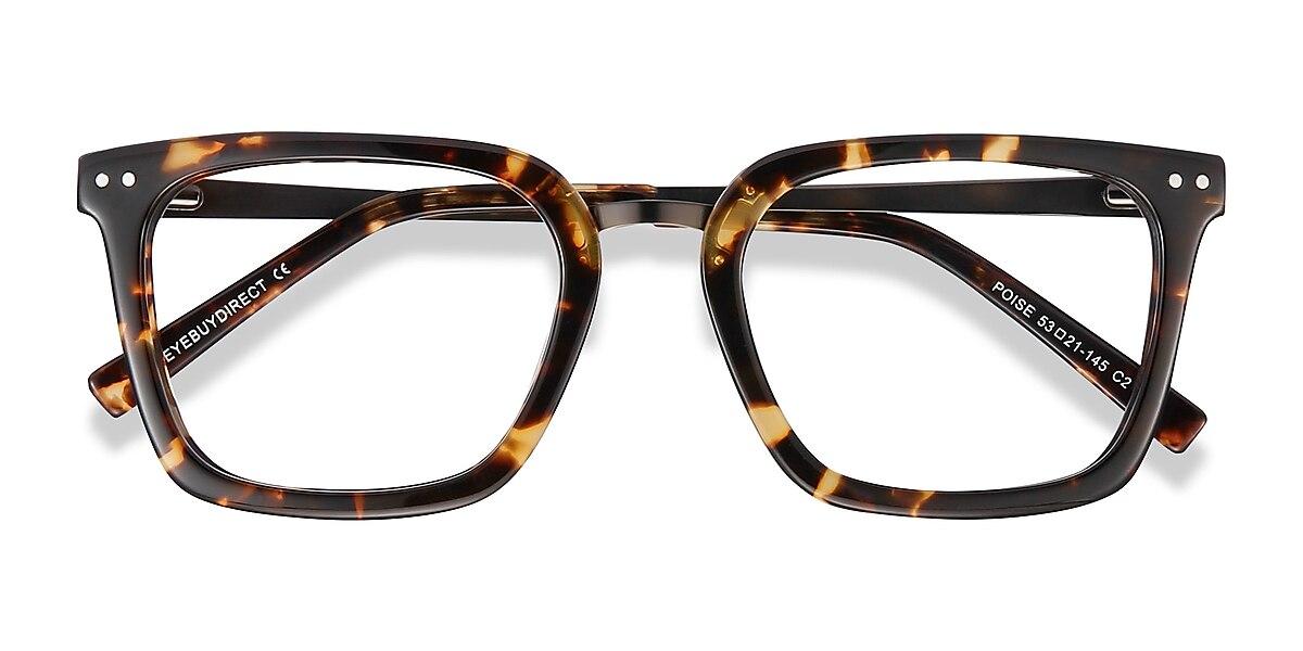 Unisex Square Tortoise Acetate Prescription eyeglasses - EyeBuydirect's Poise