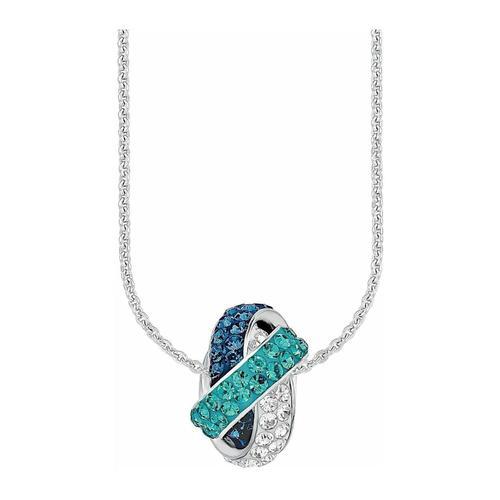 Kette mit Anhänger für Damen, Sterling Silber 925, Kristallglas Fantasie amor Blau