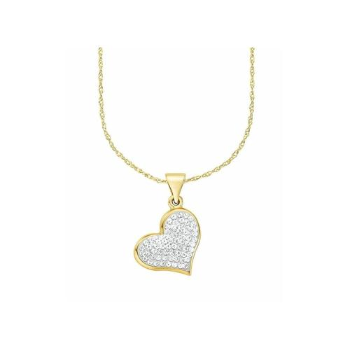 Kette mit Anhänger für Damen, Gold 375, Kristallglas Herz amor Gold