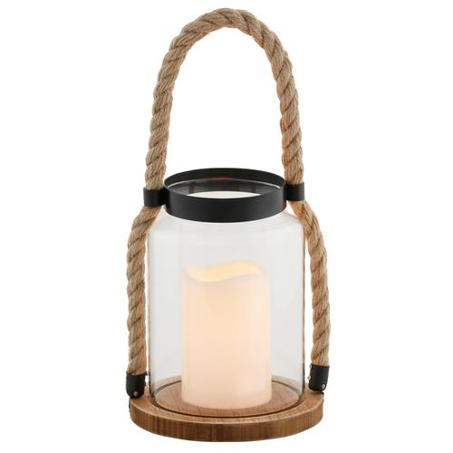 LED Laterne, Glaslaterne mit LED-Kerze, Kordel und Holzsockel beige Kerzenhalter Kerzen Laternen Wohnaccessoires Laterne