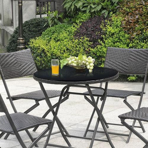 [neu.haus] - Glasplatte Ø90cm Rund Glasscheibe Tischplatte ESG Glas Kaminplatte Schwarz