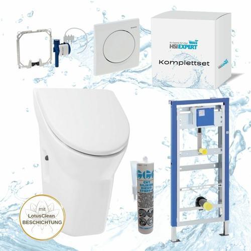 Geberit Duofix Basic Urinal Element + Urinal mit Deckel + Drückerplatte Samba + Siphon Komplett-Set