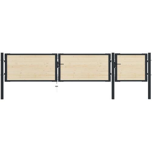 Zauntor Stahl und Fichtenholz 413×125 cm