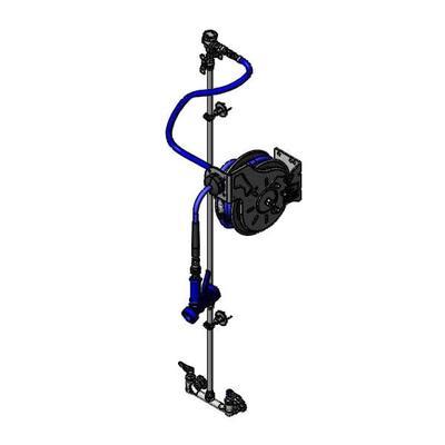"T&S B-1433-711202QD Open Hose Reel Assembly w/ 15 ft Hose & Mixing Faucet - 1/2"" NPT"