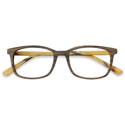 Unisex Rectangle Brown Acetate Prescription eyeglasses - EyeBuydirect's Botanist