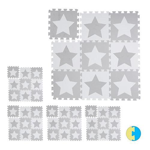 45 x Puzzlematte Sterne Spielteppich Kinderspielteppich Puzzleteppich Bodenmatte weiß-kombi