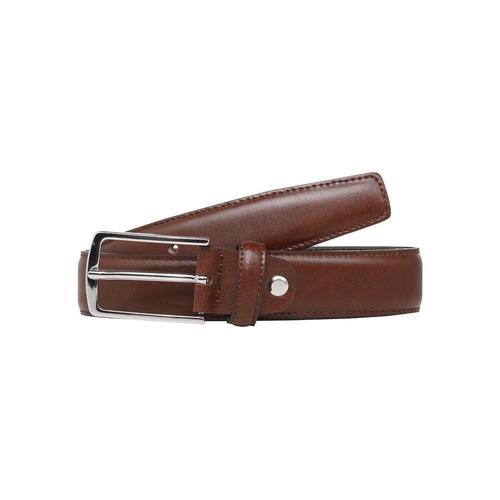 Jack & Jones Ledergürtel, Klassischer Herrengürtel leicht bombiert braun Damen Ledergürtel Gürtel Accessoires