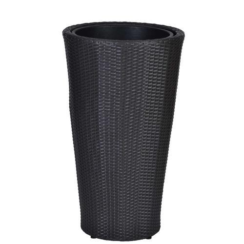 MiaMöbel Polyrattan Blumenkübel Aluminium, Polyrattan Modern
