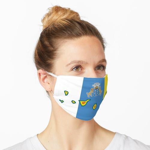 Kanarische Inseln Karte auf der Flagge der Kanarischen Inseln Maske