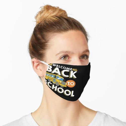 Willkommen zurück in der Schule Kinder Schulbus Neuer Schüler Maske