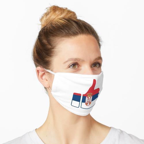 Daumen der Fahne Serbiens Maske