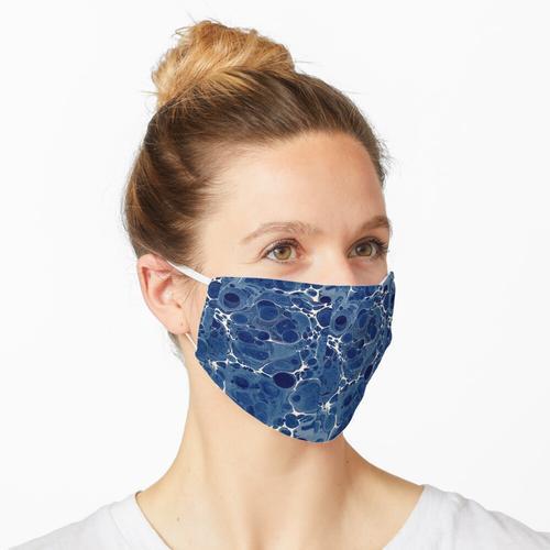 Antikes marmoriertes Papier Blau Weiß Maske